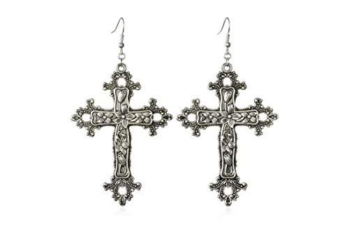 Pendientes de mujer con cruz barroca Cristo Vintage Bohemia 1980 Pendientes Madonna colgante gótico