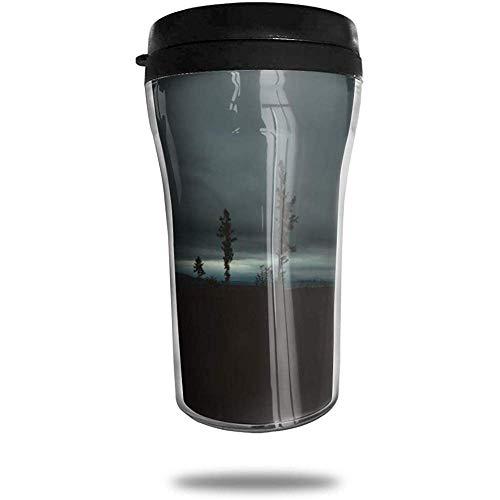 Kahle Bäume Abendhimmel Reisen Kaffeetasse 3D gedruckt tragbare Vakuum-Tasse, isolierte Teetasse Wasserflasche Becher zum Trinken mit Deckel 8,54 oz (250 ml)