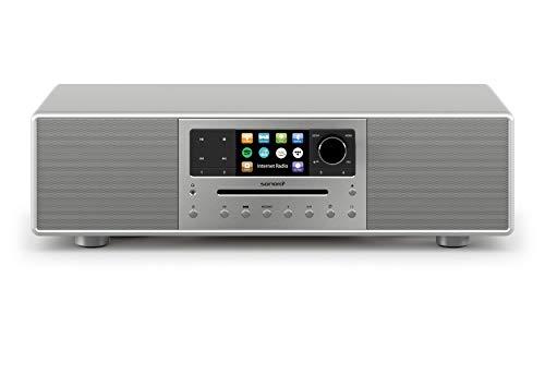 sonoro MEISTERSTÜCK Kompaktanlage mit CD-Player, Bluetooth und Internetradio (UKW/FM, WLAN, DAB Plus, Spotify, Amazon, Tidal, Deezer) Silber 2020