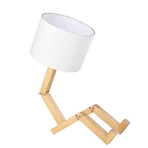 Lamp Creative Robot Swing Arm Desk, flexibel justerbar Folding läsning ljus trä Fabric Säng för sovrum, studera, kontor, arbete zhuang94 (Color : White, Size : 4)