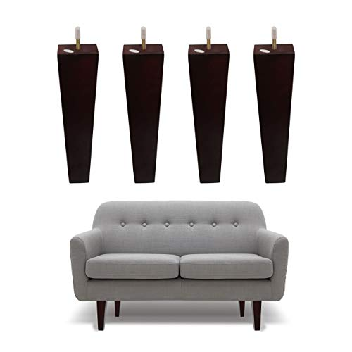 Wood Furniture Legs 10 inch Sofa Legs Set of 4 Square Couch Legs- Espresso Tapered Feet Replacement for Legs for Furniture or DIY Projects- Sofa Legs, Chair, Ottoman, Stool, Coffee Table, Bed, Etc.