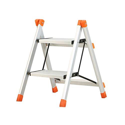 LLCY Klapptritt Aluminium 2 Schritt Klappleiter Hocker mit Anti-Slip-Matte-Laufflächenfüße Gummi-Pad-Blumenregal für Home Office-Traggewicht 100kg Treppenleiter