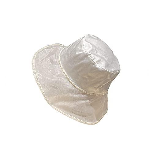CDDKJDS Sombreros de verano con neta de perlas para mujer, sombrero, sombrero, elegante, sombrero de seda de satén (color: blanco, tamaño: 55-58 cm)