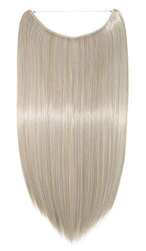 """Haarteil Extensions Haarverlängerung 1 Tresse Haare Haarverdichtung Glatt mit Unsichtbarer Draht Aschblond Mix Silbergrau Glatt-20""""(50cm)-90g"""