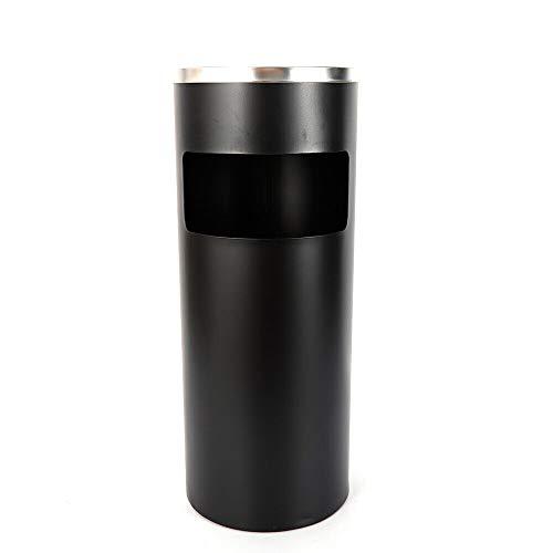 WUPYI2018 Cubo de basura de acero inoxidable con cenicero, color negro, diámetro 25 cm, altura 62 cm