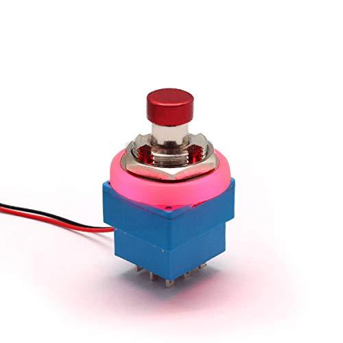 1 Stks 3PDT 9-PIN Elektrische LED Gitaar Effecten Stomp Schakelaar Pedaal Doos Voet True Bypass Rood