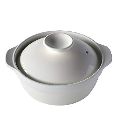 TAMAKI 土鍋 吹きこぼれにくい 1-2人用 ホワイト 直径23×奥行19.5×高さ11cm 食器洗浄機・電子レンジ・オーブン・直火対応 T-928349