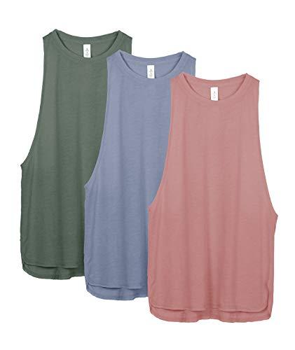 icyzone Damen Sport Tank Top Ringerrücken Yoga Fitness Shirt Loose Fit Sport Oberteile, 3er Pack (M, Dusty Pink/Country Blue/Smoke Pine)