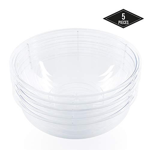 5 Stück - 5100ML - Extra Große Einweg Plastikschalen, Salatschüsseln aus Kunststoff| Transparent & Elegant - Leicht, Stabile & Wiederverwendbar - für Partys Geburtstage Weihnachten Neujahr Feiern.