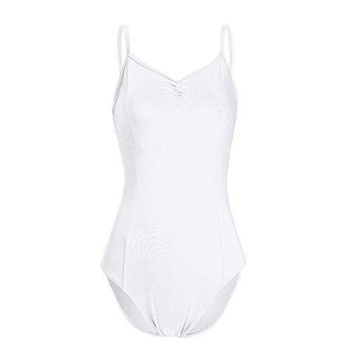 IEFIEL Maillot de Danza Ballet Gimnasia Leotardo Body Clásico Elástico Algodón para Mujer Chica Blanco XS