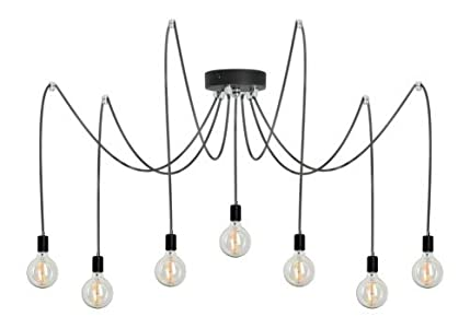Lampex. 7 bombillas araña industrial luces creativas luz decorativa Vintage Loft Cables lámpara colgante de techo colgante de luz Ragno 7