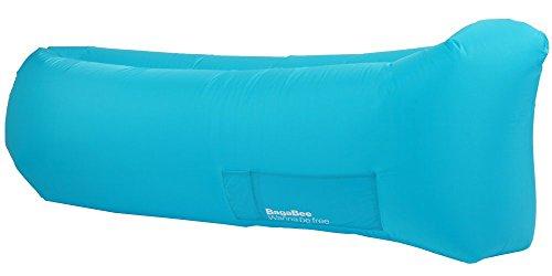 Bagabee Azul Tumbona Inflable, colchón hinchable para playa, montaña , camping , jardín , terraza, piscina