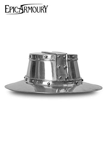 Piatto Ferro Cappello Elmetto in acciaio decorazione schaukampftauglich Cavaliere Casco LARP vichinga, disponibile in diverse misure