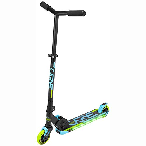 Madd Gear Carve FLIGHT Folding Kick Scooter with LED Light Up Deck and Wheels for Kids Aged 3 Years and Up (Blue/Lime)