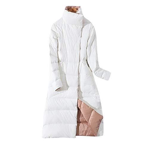 Aujelly Winddichter Daunenmantel, Damen Steppmantel Parka Coat, Daunenmantel Standkragen Plus Größe Lange Daunenjacke (L, Weiß)