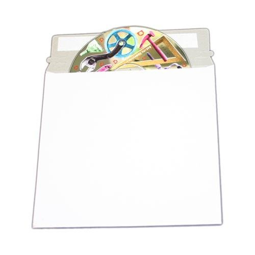 100 pcs 6  x 6 Inch White Cardboard CD/DVD Mailers With Flap & Seal