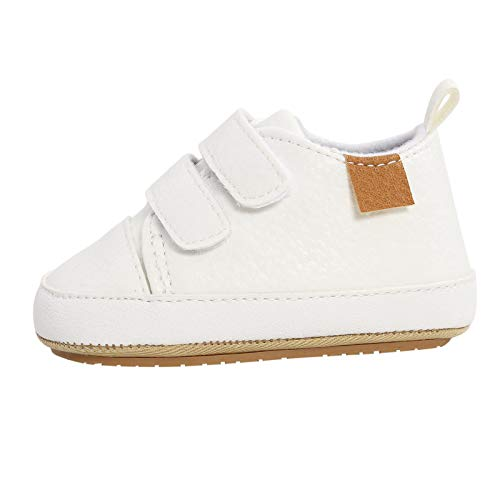 Julhold Zapatos de bebé niña niño zapatos Myggpp suela de goma antideslizante zapatos de caminar color sólido zapatos deportivos M-1993, color Blanco, talla 20 EU