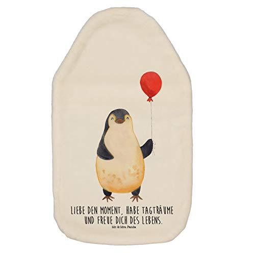 Mr. & Mrs. Panda Kinderwärmflasche, Wärmekissen, Wärmflasche Pinguin Luftballon mit Spruch - Farbe Weiß
