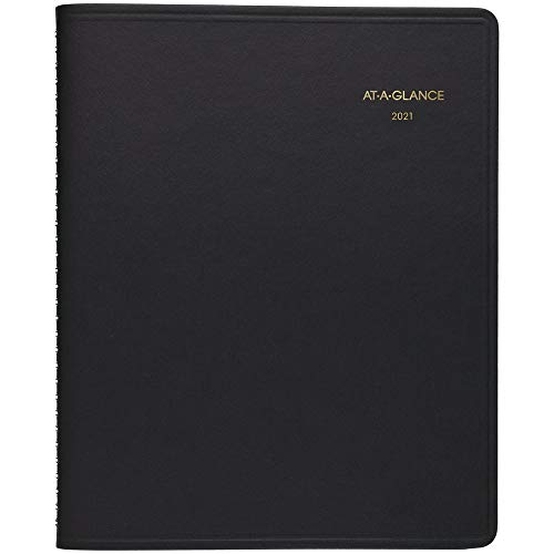 """2021 Daily Appointment Book & Planner by AT-A-GLANCE, 8-1/2"""" x 11"""", Large, 24-Hour, Black (702140521)"""