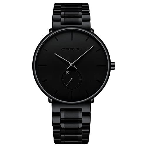 XIAN Reloj Minimalista para Hombre Reloj de Cuarzo de Moda con Correa de Acero Inoxidable Reloj Deportivo Impermeable,Black Needle