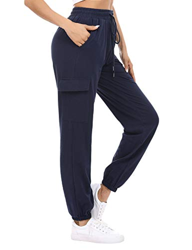 Doaraha Pantalon Jogging Femme en Coton Large avec 4 Poches Léger Confortable et Agréable à Porter Idéal pour Sport Yoga et Fitness en Hiver Grande Taille S-XXL,M,Bleu Foncé,M