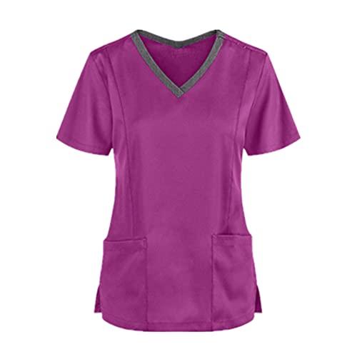 N\P Blusa Color sólido manga corta bolsillo ropa para las mujeres