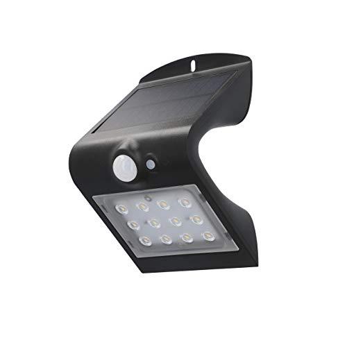 Unitec LED Solar-Wandleuchte mit 120° Bewegungsmelder | 1,5 Watt | 220 Lumen | 4000 K | Solarleuchte Outdoor | IP65, schwarz, 30911