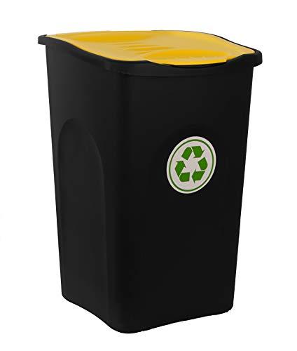 BigDean XL Mülleimer 50L groß - schwarz mit gelbem Klappdeckel - Recycling-Abfalleimer Mülltonne Abfallbehälter Mülltrenner Abfallsammler - für Küche, Zimmer & Draußen