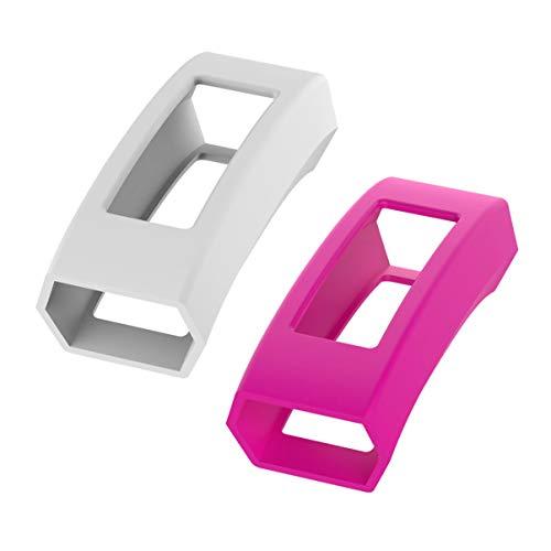 ibasenice 2 peças capa protetora de Slicone bumper capa antiarranhões à prova de choque compatível com Fitbit Alta HR/Alta (branco, rosa)