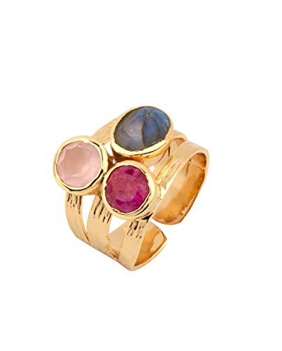 VIDAL & VIDAL Anillo Oro Ajustable Tres Piedras Colores