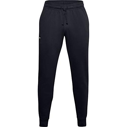 Under Armour Herren komfortable und Warme Trainingshose Für Männer, Herren Sporthose mit Loser Passform Rival Fleece Jogginghose, Black//Onyx White (001), M, 1357128-001
