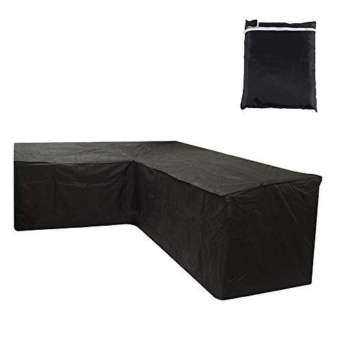 Garden Furniture Covers Heavy Duty Oxford Waterproof L Shaped Outdoor Furniture Covers Windproof Anti-UV Garden Corner Sofa Set Cover for Patio Chair Sofa Couch ,215*215x87cm