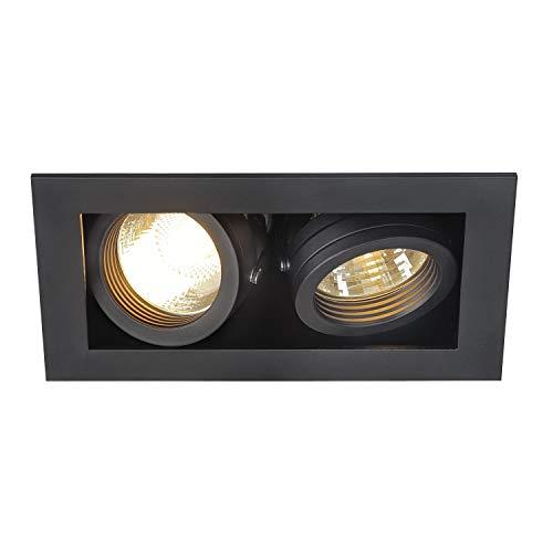 SLV Spots Encastrables KADUX 2 Lampes   Rectangulaire Noir Mat   Orientable Inclinable Multidirectionnel   Clips Ressorts