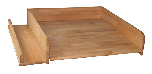 Wickeltischaufsatz 60x70cm mit seitlicher Ablage, Buche geölt, Wickelaufsatz für Waschmaschine oder Trockner, echtes Holz