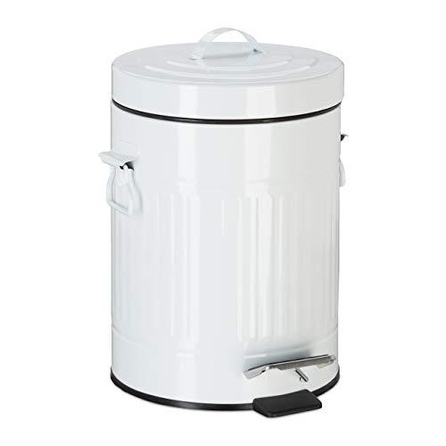 cubo basura cocina y baño con pedal de estilo vintage, metal, blanco, 5 l