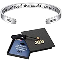 M Mooham Inspirational Graduation Gifts Cuff Bracelet with 2020 Graduation Grad Cap