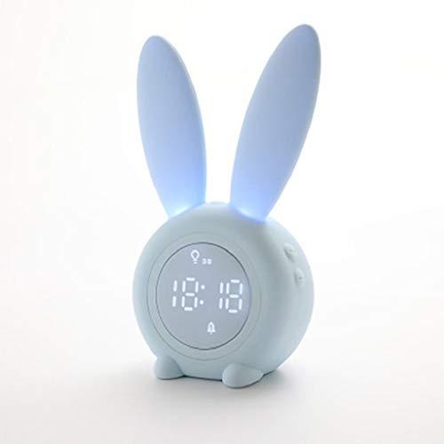 MissLi Lámpara de Noche con Reloj Despertador LED, temporización de batería de Recarga incorporada y luz Nocturna Inteligente con Linterna de lámpara de Dormitorio magnética Fuerte de 3 Colores