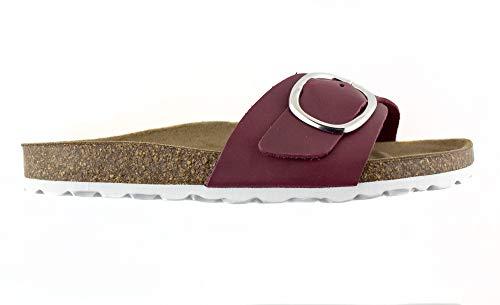 Sandalias para Mujer en Piel Colores Marrón o Burdeos, Cierre de Hebilla y Planta Bio Piso Plano Confortable. Temporada 2020, Fabricadas en España. (Nº del 36 a 41)
