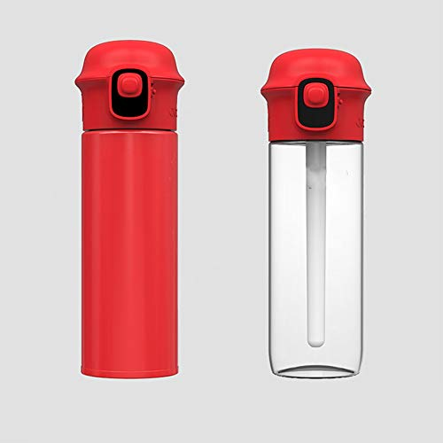 LKJJTG Botella de Agua Deportiva, recordatorio Inteligente de la aplicación para Beber Agua, Pantalla LED, Taza de Agua portátil Doble-Red