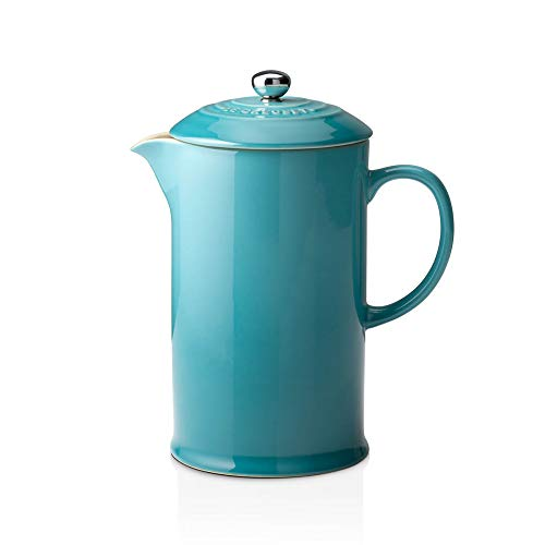 Le Creuset Stoneware Cafetière French Press with Stainless Steel Plunger, 1 Litre, Serves 3-4 Cups, Teal, 91028200490000