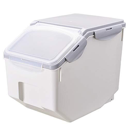 ペット フードストッカー 餌収納 保存容器 密閉 大容量 キャスター付き 米 犬餌 猫餌 ドライフード 収納ボックス 3~5kg/7~10kg 計量カップ付 湿気防止 乾燥 グレー 3~5kg