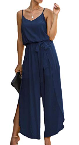 BingSai Women's Casual Spaghetti Strap Wide Leg Pants Solid Color Slit Jumpsuits Romper S