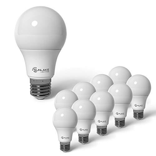 SunLake Lighting 10 Pack A19 Standard LED Light Bulb, 8W=60W, 800 LM, 2700K Soft White, E26 Base, Multiple Use - Including Ceiling Fan Light Bulb and Bathroom Light Bulb - UL & Energy Star