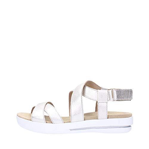 BENVADO Debora 42002002 Platin-Sandalen für Damen aus Wildleder mit gerissenem Keil 38
