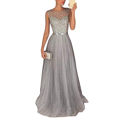 Tomwell Damen Elegant Langes Abendkleid Festliche Kleider Brautjungfer Hochzeit Cocktailkleid Chiffon Faltenrock Kleid (44, B)