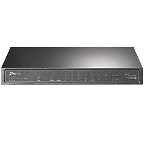 TP-Link TL-SG1210P 10 Port Gigabit PoE LAN Switch (8 Gigabit PoE+ Ports, 1 Gigabit SFP Port, 63 W, IEEE-802.3af/at, Plug-and-Play Installation, QoS, IGMP,lüfterlos) Schwarz