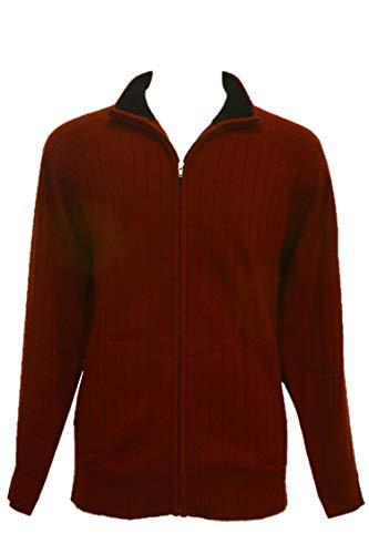 Shephe 4 Ply Men's Cardigan Cashmere Sweater Full Zip Closure Bi-Color Collar Burgundy Large