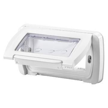Gewiss Placca Stagna Autoportante 4 Moduli con portello trasparente per scatola di incasso IP55 (GW22461 Bianco Nuvola)
