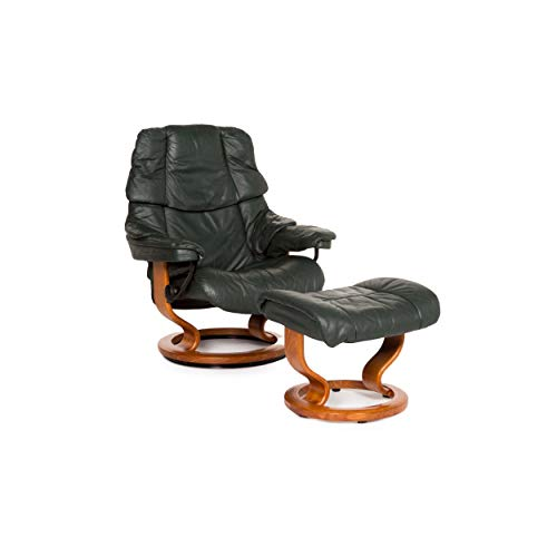 Stressless Reno Leather Armchair Incl. Stool Green Dark Green Relax Armchair Relax Function Function