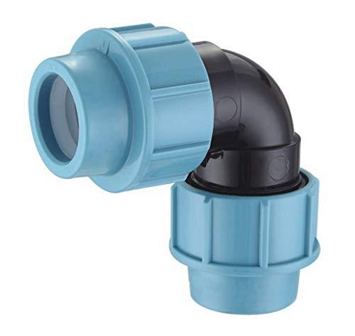 EXCOLO PP-Verbinder für 32 mm PE-Rohr Kupplung Endkappe Verbund Fitting Fittings Formteil Verschraubung Winkel (Winkel 32mm)
